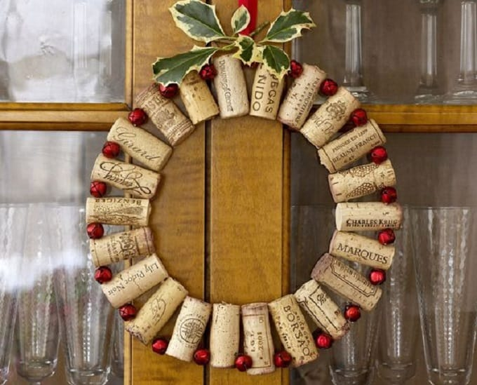leftover wine cork wreath