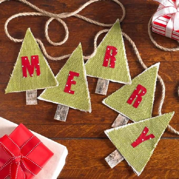 burlap Christmas tree bunting