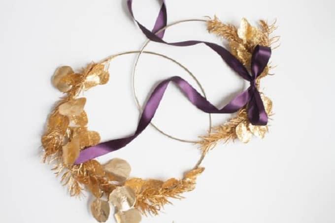 diy gold wreath