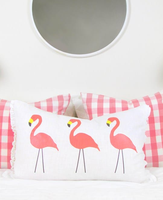 flamingo lumbar pillow