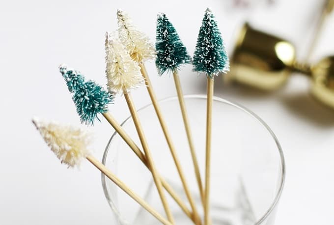 Christmas tree drink stirrers