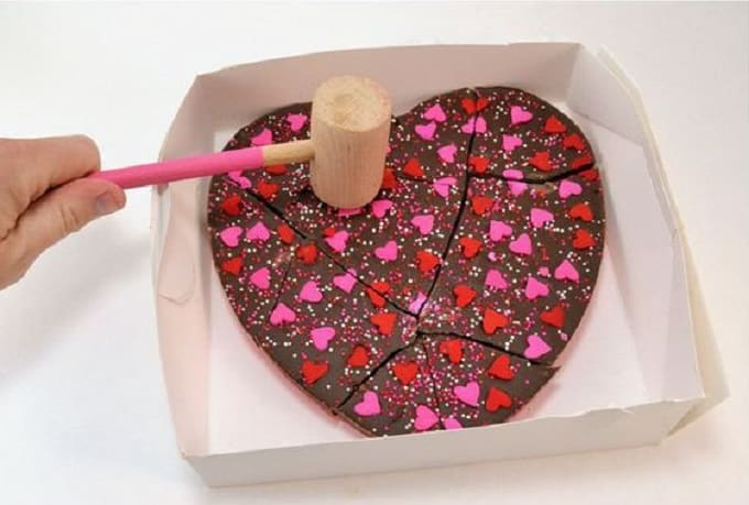 chocolate heart Valentine's Day cake