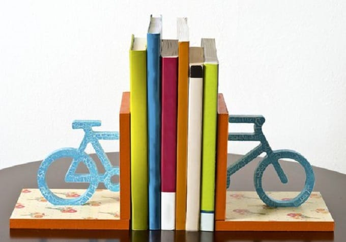 wooden bicycle bookend