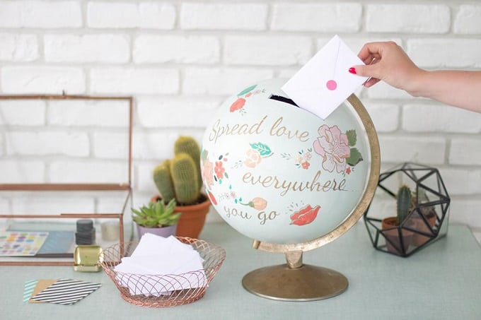 DIY painted globe coin bank