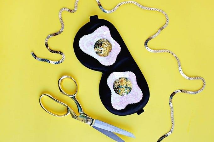 DIY sequin egg sleep mask