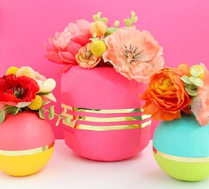 colorful geometric vases