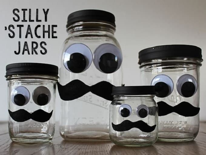 silly stache jars