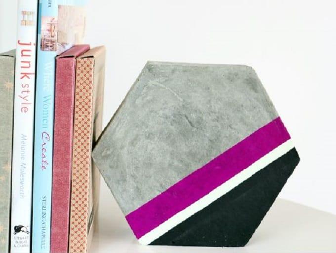 DIY cement hexagon bookend