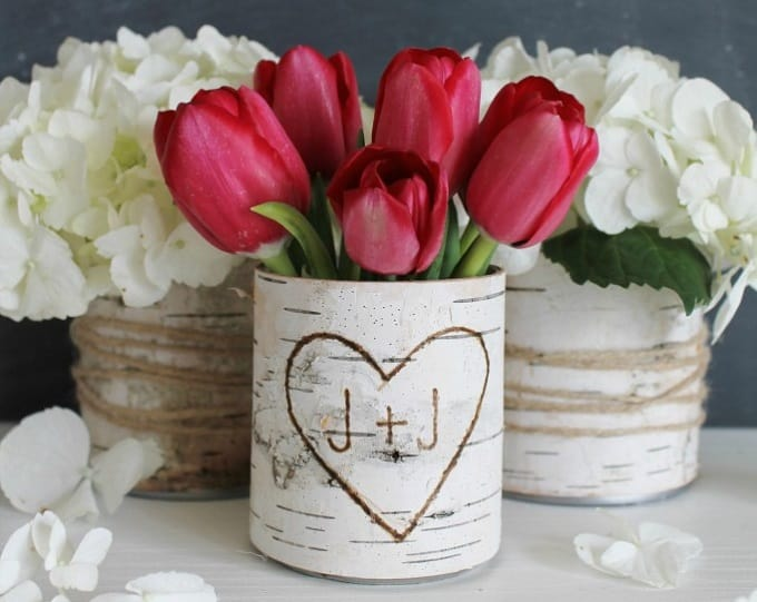 DIY birch wood flower vases