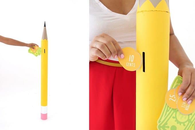 DIY pencil coin bank