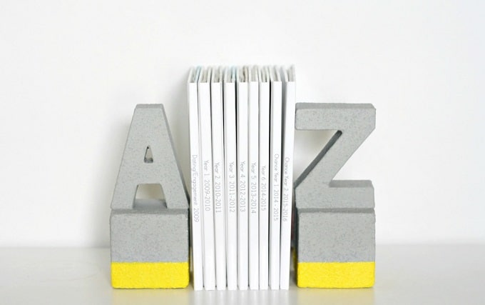 DIY cement letter bookends