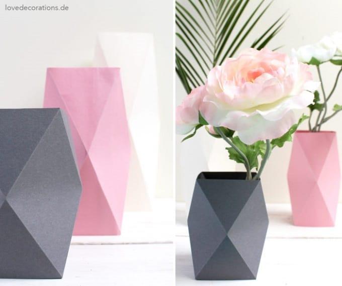 DIY origami inspired vases