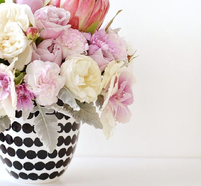 black and white spot vase