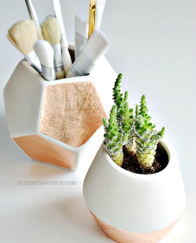diy copper gold leaf vases