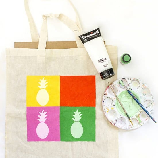 DIY Pineapple Pop Art Inspired Tote Bag