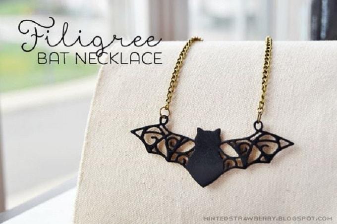 filigree bat necklace