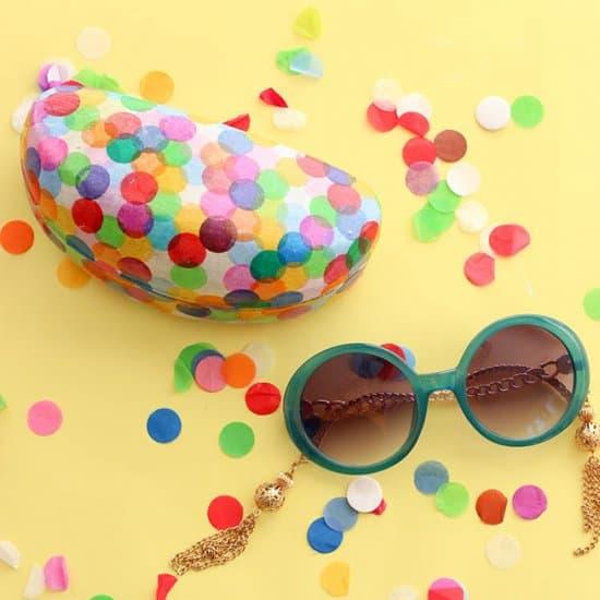 Confetti Covered Sunglasses Case