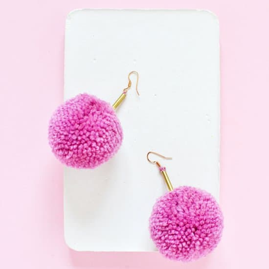 Pom Pom Brass Earrings
