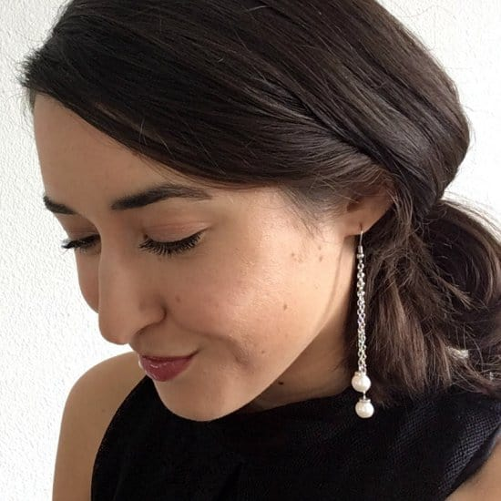Pearl Drop Chain Earrings