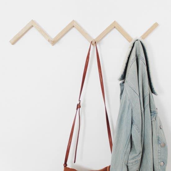 Zig Zag Wood Coat Rack
