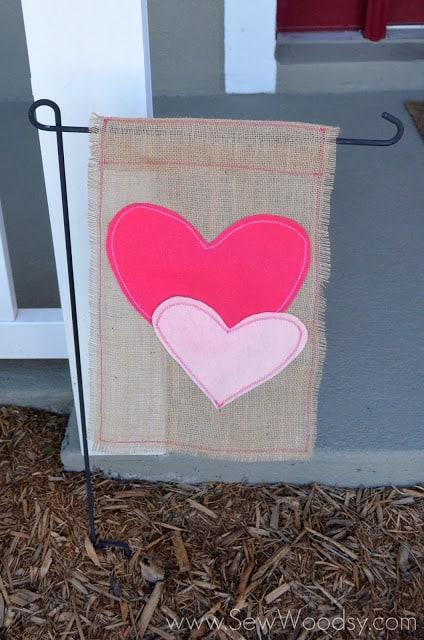 DIY Garden Flag for Valentine's Day