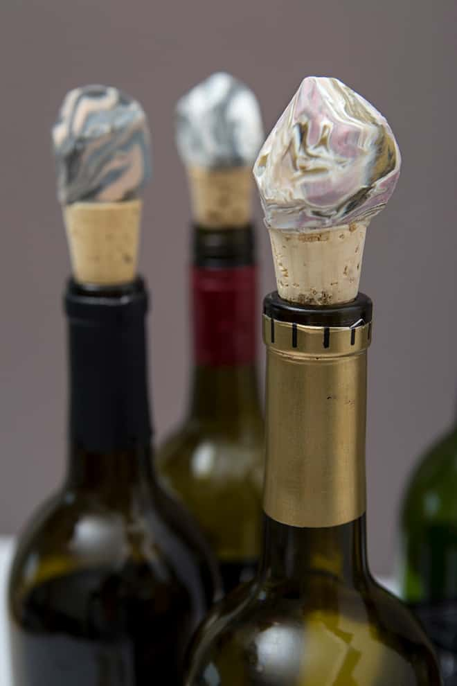 DIY Marbled Clay Gemstone Wine Stoppers