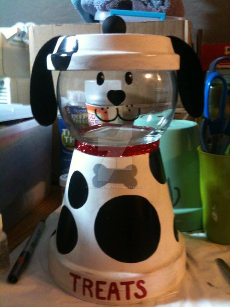 Terra Cotta Dalmatian Dog Treats Container