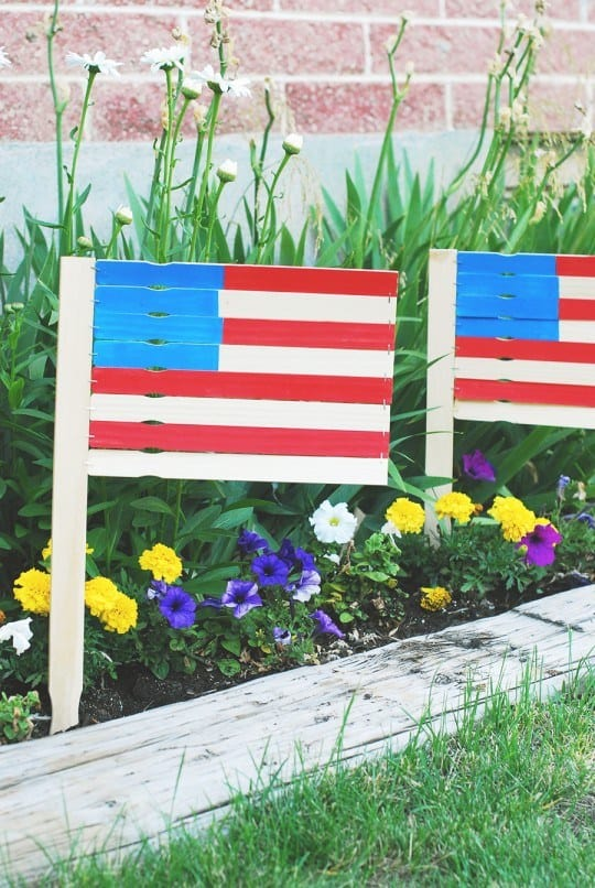 DIY 4th of July Paint Stick Garden Flags