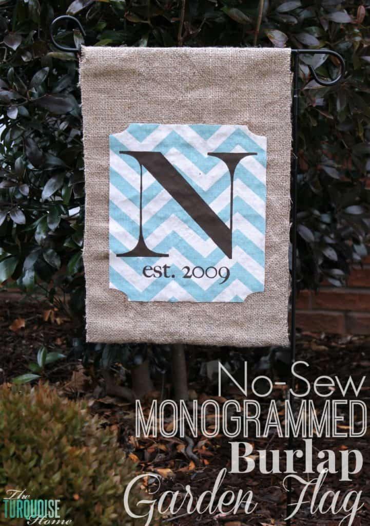 DIY No-Sew Monogrammed Burlap Garden Flag