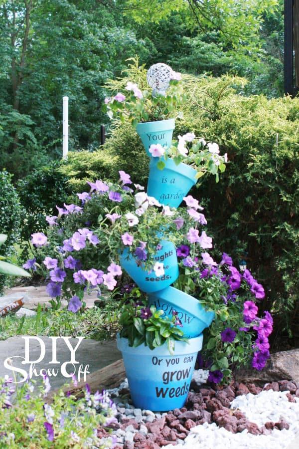 Ombre Stacked Terra Cotta Pot Planter