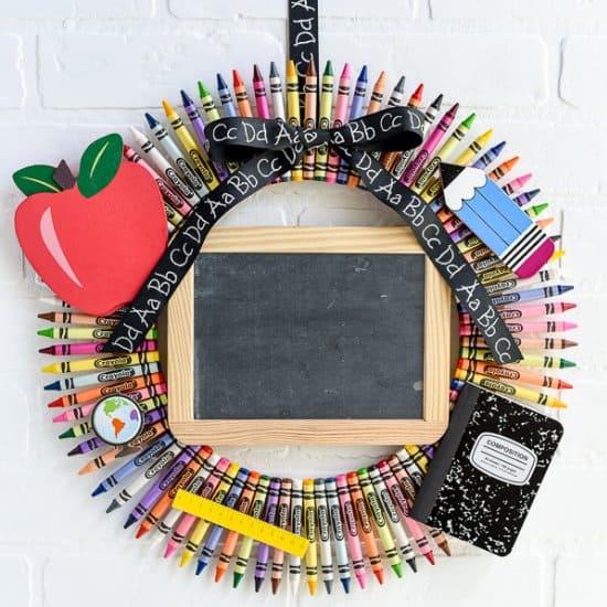 Personalized Chalkboard Crayon Wreath