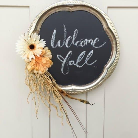 Chalkboard Style Fall Wreath