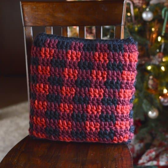 Buffalo Plaid Crochet Pillow