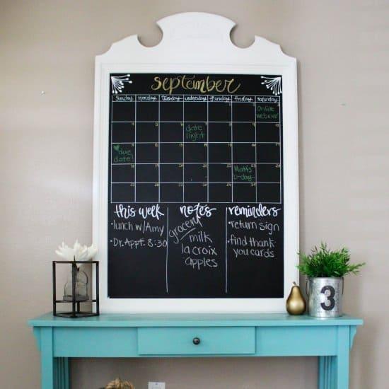 Thrift Store Mirror to Chalkboard Calendar