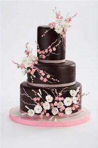 Black fondant floral wedding cake