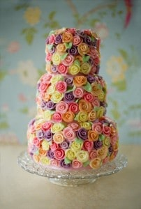 Colorful rose wedding cake