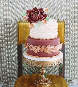 Dreamy Marsala wedding cake