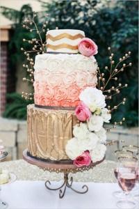 Quaint gold wedding cake