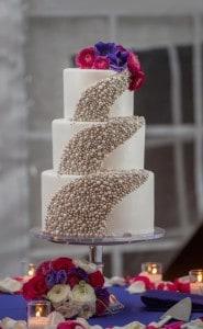 cascading pearls wedding cake