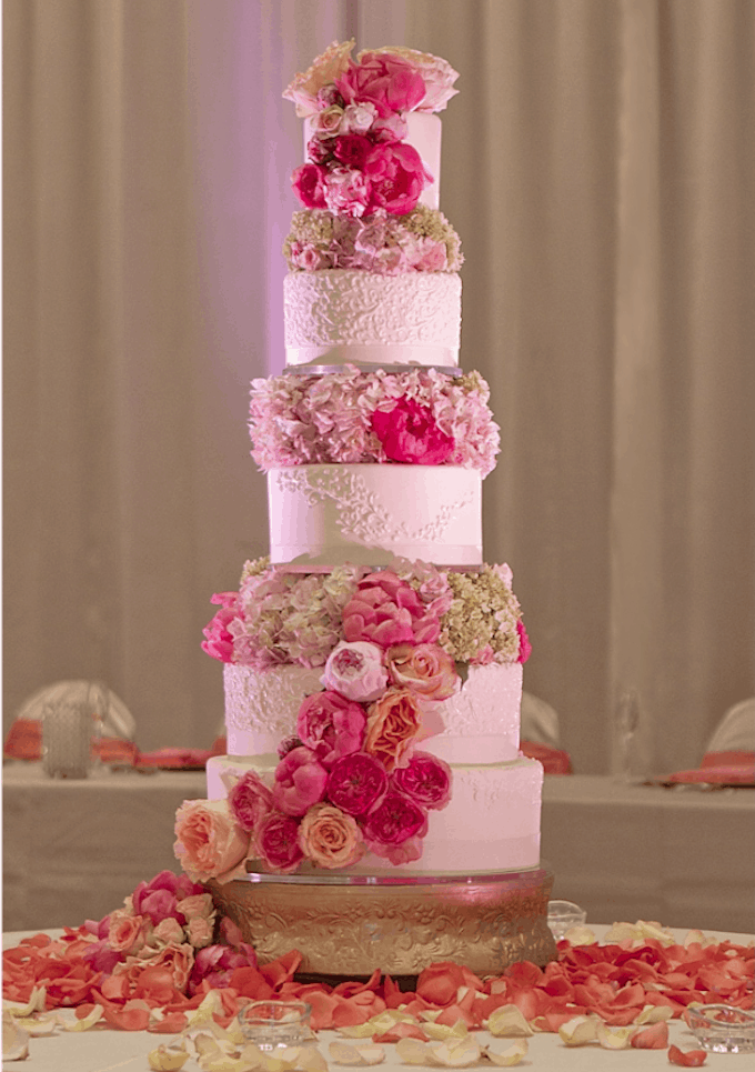five tier rose wedding cake