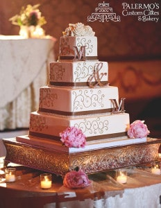 four tier square wedding cake