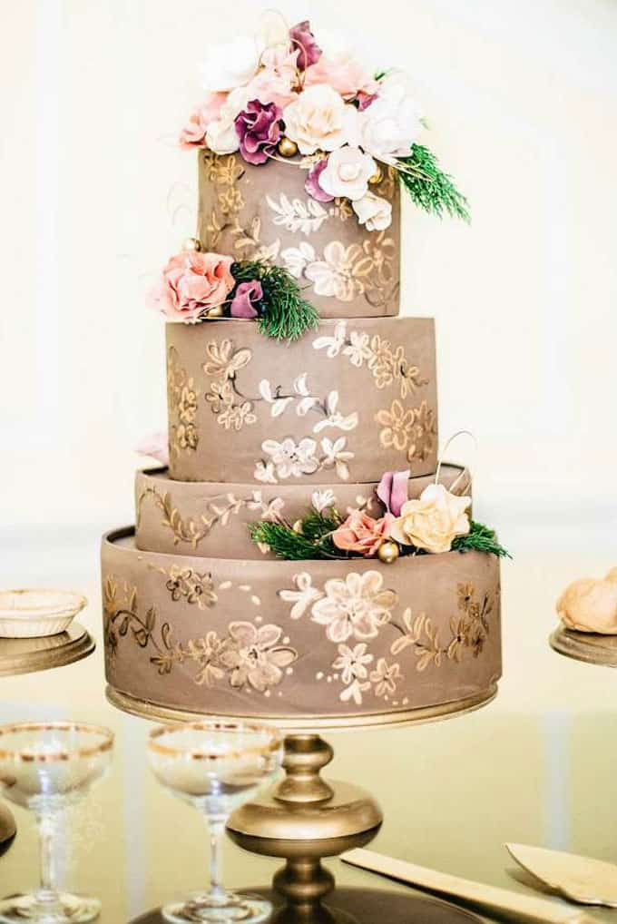 hand painted gold and floral wedding cake