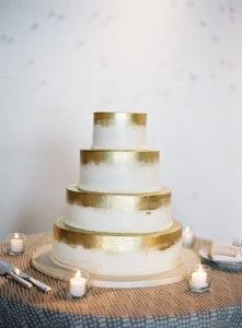 modern gold wedding cake