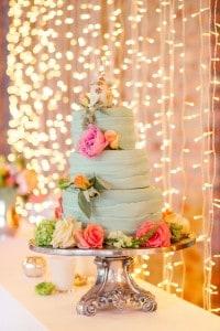 modern mint wedding cake