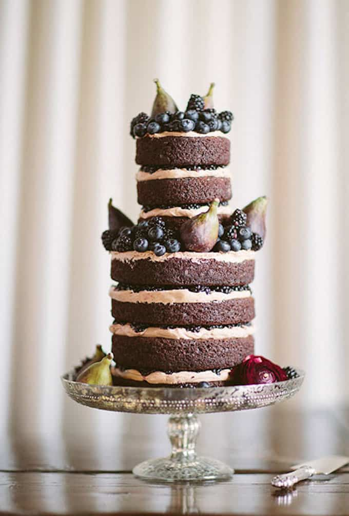 naked chocolate wedding cake