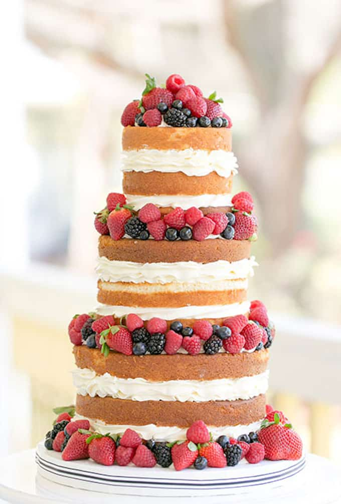 naked vanilla wedding cake