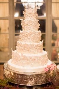 pink creme floral wedding cake