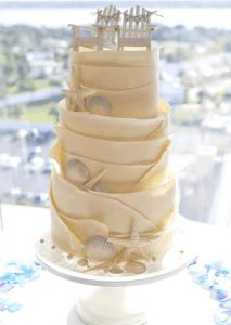 seashells and starfish wedding cake