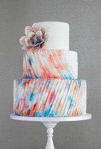 tie-dye pleated wedding cake