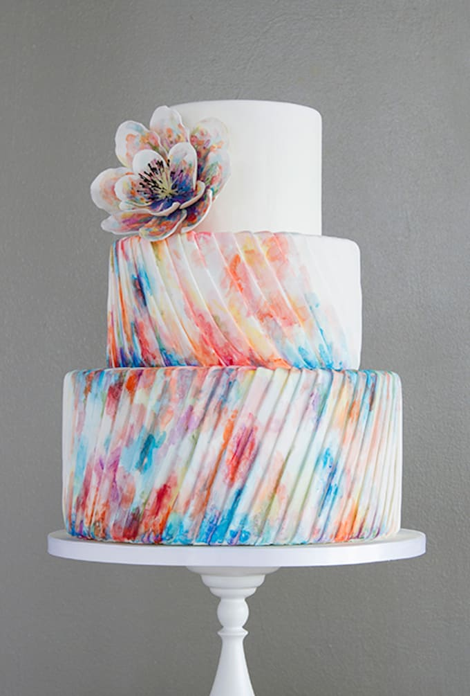 tie-dye pleated wedding cake
